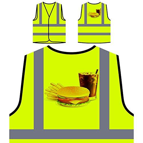 Hamburguesa, papas fritas, y, cola, novedad, divertido Chaqueta de seguridad amarillo personalizado de alta visibilidad a943v