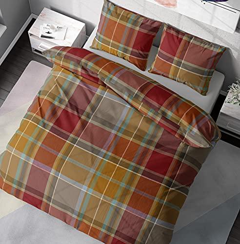 DILIOS Juego de ropa de cama de 135 x 200 cm, 2 piezas, 100% algodón con cremallera, diseño de...