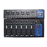 AFYH Mesas de Mezcla para Estudio, Mezclador de Audio portátil con Bluetooth, 7 Canales con USB, Consola de Mezcla de Sonido para DJ, Conector MP3, Karaoke, 48 V, Amplificador, Karaoke, KTV