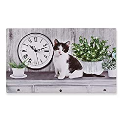 Collections Etc Cat Canvas Wall Art with Working Clock and LED Fiber Optic Lights, 24 x 14