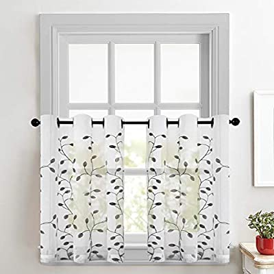 CUTEWIND Sheer White Curtains Embroidered Kitchen Tiers 24 Inches Long Tier Curtains Grey Leaves Embroidery Bathroom Voile Grommet Top Half Window Treatment (1 Set, Grey, W30×L24 Inches)