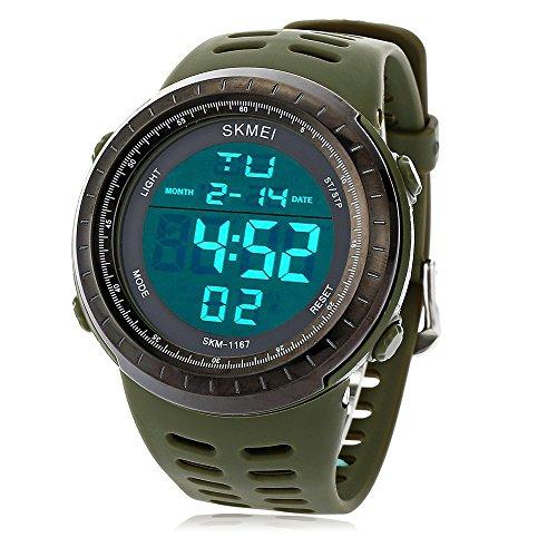 Leopard Shop SKMEI 1167 hombres LED digital reloj despertador fecha luminosa banda de goma 50 m resistencia al agua reloj de pulsera
