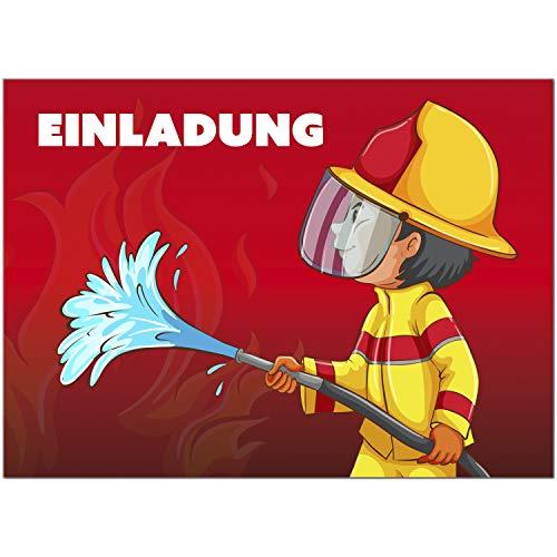 16 Einladungskarten zum Kindergeburtstag Feuerwehr oder Feuerwehmann Party Einladungen für Kinder zum Geburtstag im Set