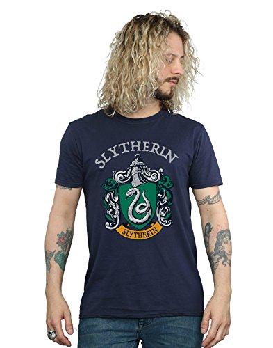 Harry Potter Herren Slytherin Crest T-Shirt Navy Blau XXX-Large