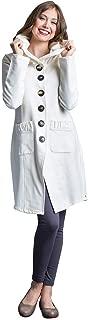 Women's Long Hooded Jacket Female Cotton Coat Cardigan with Ruffled Pockets