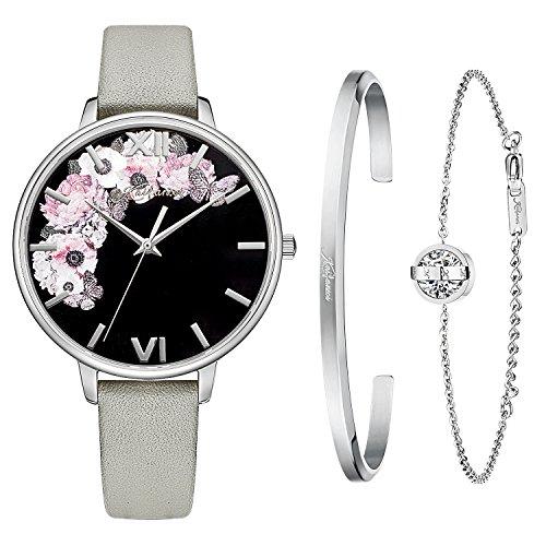 Kaifanxi Donne Ultra sottile al quarzo da polso orologio quadrante nero con stampa floreale in acciaio inox caso Sapphire Cinturino per orologio in acciaio inossidabile (Grigio)
