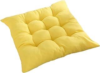 Joyfeel Buy 1 cojín de asiento para silla de comedor con lazos, cojín para silla de cocina, diseño acolchado de 40 x 40 cm, (amarillo)