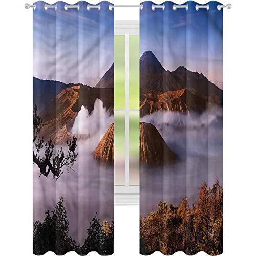 jinguizi Cortina de ventana drapeada Volcano Tengger Caldera East Java W42 x L84 Cortinas opacas para dormitorio de los niños