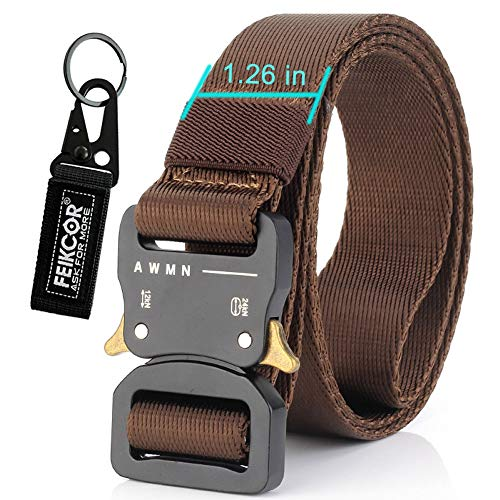 Best Price FEIKCOR Outdoor Tactical Belt – Quick Unlock, Free Adjustment, Zinc Alloy Buckle Head Breathable Wear (Coffee-N016)