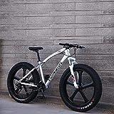 Bicicleta de montaña para adultos, bicicleta de crucero con marco de acero con alto contenido de carbono, freno de disco doble y horquilla de suspensión delantera completa,Blanco,26 inch 7 speed