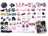 LABOTA Kinder Schleife und Haargummis Set, 54 Stücke Nette Haarbögen Haarclip für Baby Mädchen Geburtstagsgeschenk Kindertagsgeschenk...