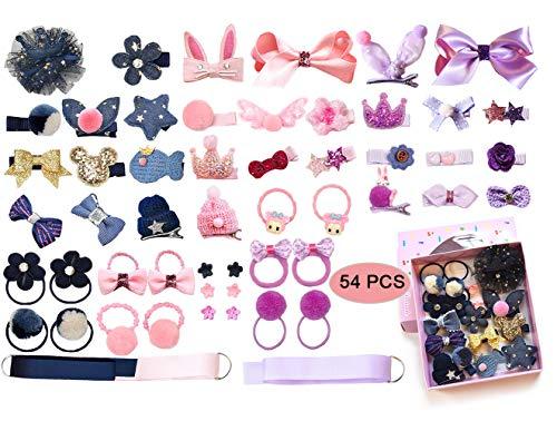 LABOTA 54 Piezas Pinzas Gomas Pelo para Niña Bebe, Elásticos Gomas del pelo Lazos Accesorios con caja de regalo Para El Pelo Bebé Niñas