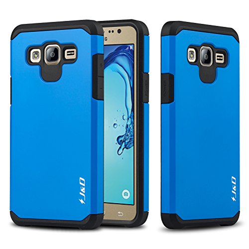 J&D Case Compatible for Galaxy On5 Case, Heavy Duty [Dual Layer] Hybrid Shock Proof Protective Rugged Bumper Case for Samsung Galaxy On5 Case - Blue