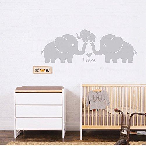 MAFENT Elefanten Familie mit Herzen Wand Aufkleber Baby Kinderzimmer Dekoration Wandtattoo Wand Aufkleber für Baby - Kindergarten Schlafzimmer Dekoration, 76,2 cm W x H, Grau