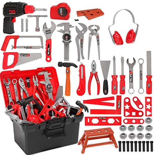 Oeasy Werkzeugkoffer Kinder, 51 Stücke Rollenspiel Werkzeugkasten Werkzeug Spielzeug Spielwerkzeugen Lernspielzeug für Kinder Kleinkind Jungen Mädchen 3 Jahre alt +