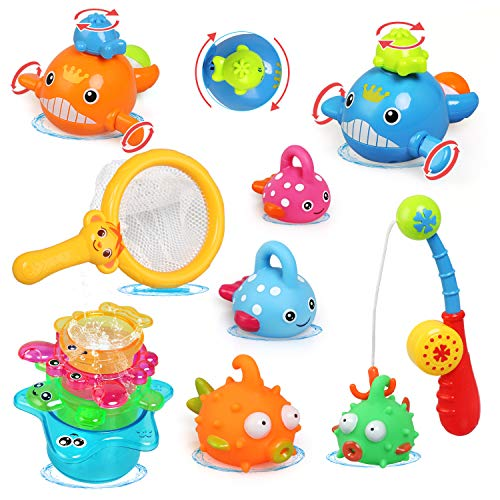 LinStyle Baby Badespielzeug, Badewanne Spielzeug Kinder, Angeln Spielzeug mit Fischernetz, Stapelbecher, Wassersprühspielzeug, Aufziehbadwal, 12-teiliges Duschspielzeug-Set
