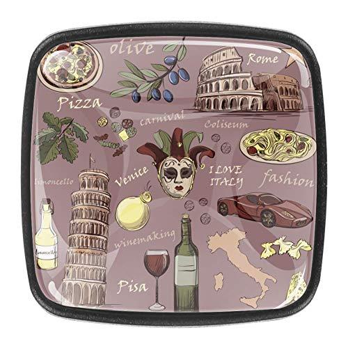 Pomos cuadrados para armario, diseño del Coliseo Pompeya, torre inclinada del Vaticano de Pisa Venecia, para pizza, vino, carnaval, mascarilla de cocina, tiradores de clóset de 4
