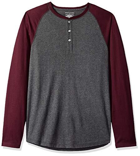 Amazon Essentials - Camiseta ajustada Henley de manga larga para hombre, Gris (Charcoal Heather/Burgundy), US M (EU M)