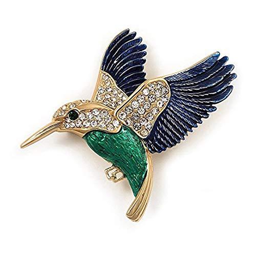 BGBG Broche Azul Oscuro + Broche de pájaro Carpintero de aleación Verde en Temperamento Personal Salvaje
