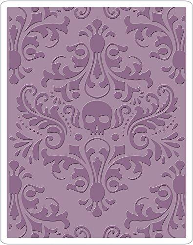 Sizzix Texture Fades Prägeschablone-Totenkopf Damast von Tim Holtz, Plastik, Mehrfarbig, 17.5 x 12.4 x 0.5 cm