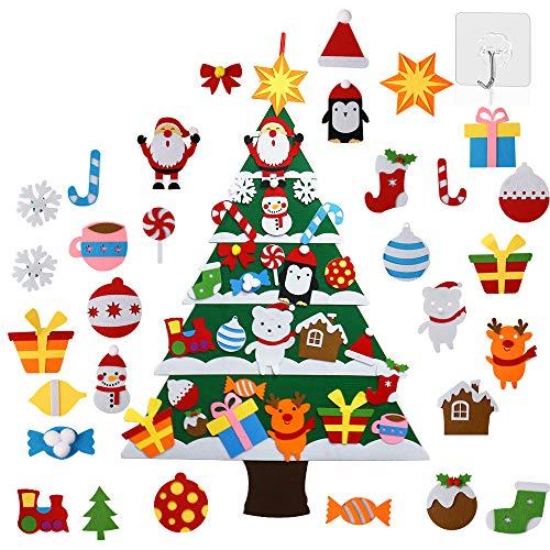 Kit de árbol de Navidad de fieltro con 30 piezas de adornos 3D para árbol de Navidad falsos regalos de Navidad árbol conjunto con adornos para niños colgante de pared hecho a mano Año Nuevo adornos