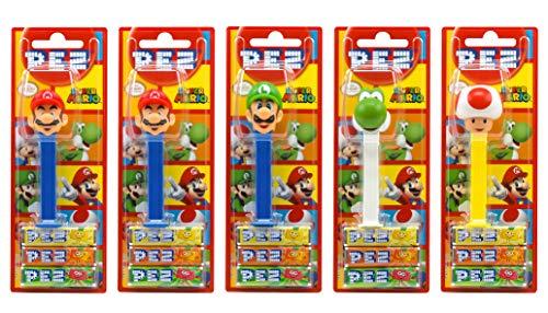 PEZ set de dispensadores Nintendo (5 dispensadores con 3 recargas de caramelos PEZ de 8,5g c/u) + 1...