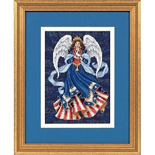 Dimensions Gold Collection Counted Cross Stitch Kit, Patriotic Angel, 18 Count Navy Aida, 5'' x 7''