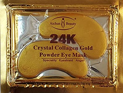 AICHUN BEAUTY 10/20/30/40/100 Pairs Crystal 24K Gold Powder Gel Collagen Eye Mask Sheet Patch Anti Ageing Remove Bags Dark Circles & Puffiness Skincare Anti Wrinkle Moisturising (10) by AICHUN BEAUTY