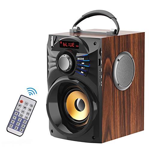 EIFER Bluetooth Speakers Wireless Portable Loud Speaker Subwoorer Blue Tooth LoudSpeakers Line-in Remote Control FM Radio TF U-Disk AUX Player Room Home Party Outdoor/Indoor Loudspeaker (Brown)