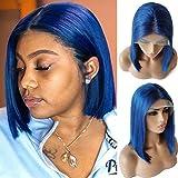 Blue Human Hair Bob Wig Brazilian Virgin Hair 13x6x1 8inch Short Straight Bob Lace Front Wigs 150 Density Natural Hairline Blunt Cut Bob Wig Middle Part