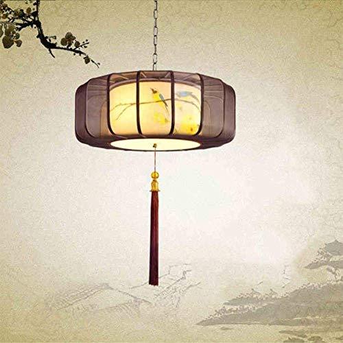 bxbx Lámpara, Pintado a Mano Nuevo Chino Luces Pendientes De La Tela De La Lámpara De Hierro Forjado Lámpara Colgante De Piel De Oveja Dormitorio De Techo Colgante Luz