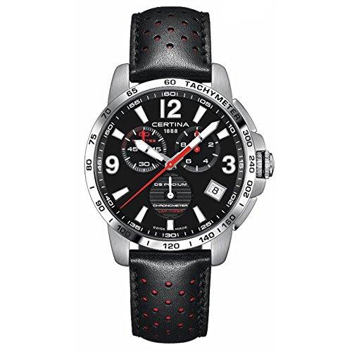 Certina DS Podium C034.453.16.057.00 - Reloj analógico de cuarzo para hombre, correa de piel negra, correa de acero, 42 mm