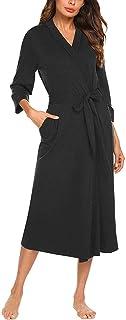Fankle Women's Robe Ladies Bathrobe Sleepwear 4/3 Sleeve V-neck Wrap Lightweight Towelling Cotton Dressing Gown with Belt Spa Hotel for All Seasons