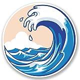 2 x Wave Vinyl Sticker iPad Laptop Surf Surfer Wakeboard Board Japan Gift #4514