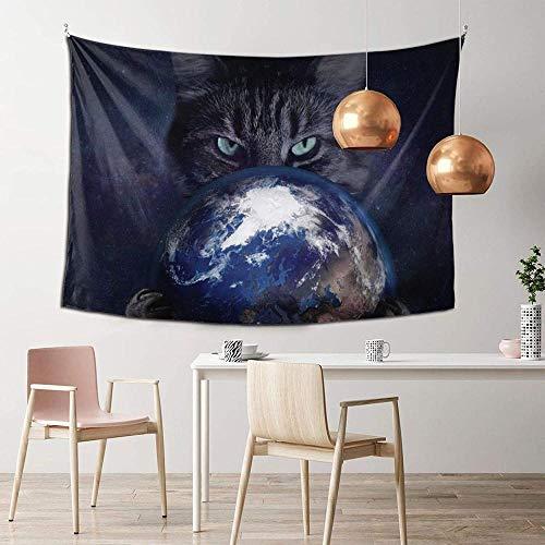 DGSJH Psicodélico Universo Colorido Vía Láctea Galaxia Gato Tierra Tapiz Colorido Abstracto Montado en la pared Sala de estar Dormitorio Decoración del hogar 150x200cm