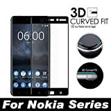Protector de Pantalla para,Full Cover 3D Edge Curved Tempered Glass For X6 6.1 5.1 3.1 8 Sirocco 6 New 7 Plus 5 3 Screen Protector Protective Film For Nokia 5.1 Black