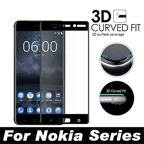 Pellicola Protettiva Compatibile,Full Cover 3D Edge Curved Tempered Glass for X6 6.1 5.1 3.1 8 Sirocco 6 New 7 Plus 5 3 Screen Protector Protective Film for Nokia 8 Sirocco Black