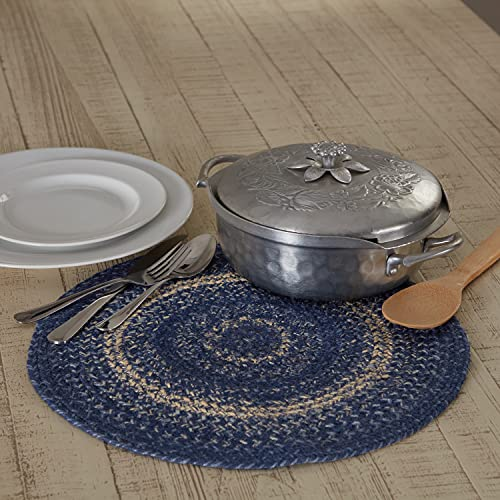 VHC Brands Great Falls Blue Trivet Hot Pad for Pots Pans, Blue White, Jute Blend, Round Circle, 15 Inches