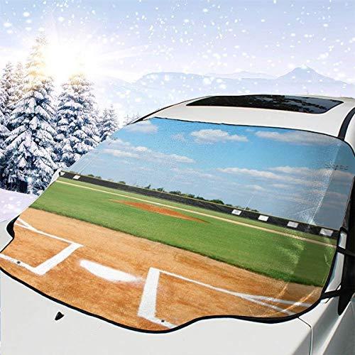 Baseball Field Bases Baseballfeld Bau Baseballfeld Malvorlagen Blauer Himmel 2560X1440 Windschutzscheibe für Autos Schneedecken 57,9X46,5 Zoll für Jeep Trucks Suvs Mpvs Hält Eis und Schnee fern