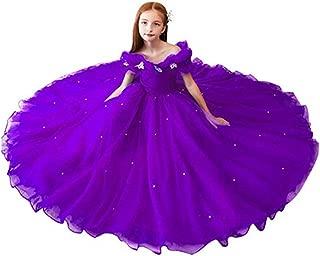 Datangep Girl Princess Long Crystal Butterfly Tulle Party Flower Girl Dresses