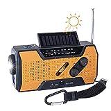 TKOOFN Radio de Emergencia Manivela FM Am, Generacion Solar Portátil Multifunción Al Aire Libre Novedad Radio con 2000mAh como Power Bank/Lámpara de Lectura de 4 Leds/Linterna LED/Alarma SOS