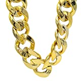 TUOKAY Huge Plastic Gold Chain Costume, Shiny Big Chunky Hip Hop Turnover Chain Necklace for Rapper, 80s 90s Punk Style Necklace Costume Jewelry for Rap Gangsta, 34mm, 32 inches Long