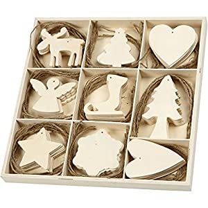Sperrholz Hängeornamente Sortiment 56742 – 72-teiliges Hängedeko Set als DIY Weihnachtsbaumschmuck und Weihnachtsdekoration. 7-8 cm Größe, 3 mm Dicke.