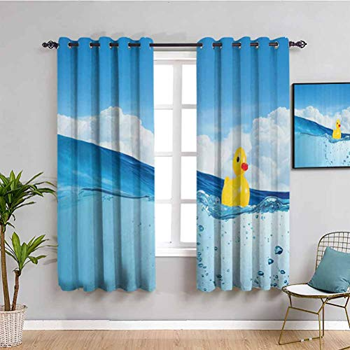 Amazing Deal Rubber Duck Fabric Curtain Little Duckling Toy Swimming in Pond Pool Sea Sunny Day Floa...