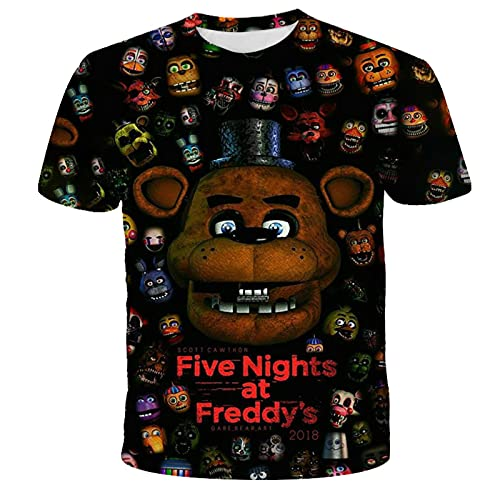 Five Nights at Freddy Camiseta Niños Camisetas Impresas en 3D Niños Niñas Moda Manga Corta FNAF Niño 4T-14T Años
