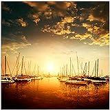 Cuadro de lienzo de fieltro con diseño de puesta de sol, realismo, moderno barco en el puerto de mar, vista de un puerto, para decoración de salón, sin marco (60 x 60 cm)