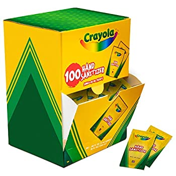 Crayola Pocket Hand Sanitizer for Kids Box of 100 Single-Use Sanitizer Gel Packets 2 ml ea.