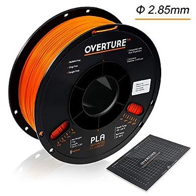Overture PLA 3D Printer Filament 1-Pack Orange 2.85 1kg x 1