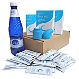 Sinus Rinse All-in-One Complete Kit (500ml) by Capster + 40x5g sachets | The Only 100% Silicone Nasal Irrigation System | Durable and Sterilizable | Made in EU | Great Alt. to Neti Pot, Neilmed