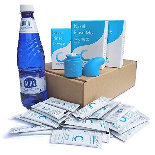Lavado Nasal Kit completo (500ml) de Capster + 40x 5g Bolsitas | El único Sistema de Irrigación Nasal 100% de Silicona | Duradera y Esterilizable | Hecho en Europa | Alternative to Neti Pot/Neilmed